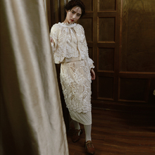 LYNETTE'S CHINOISERIE  flowers three-dimensional flower exquisite embroidery spilliness step slim skirt bust