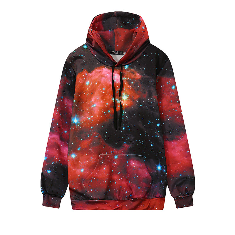 New Winter 3D Print Red Star Space Galaxy Harajuku Long Sleeve Hoodies Loose Womens Sweatshirts Pullovers Design Sweat Tops