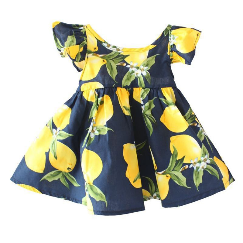 цены  New Hot Summer Girls Cotton Dresses For Girl Baby Lemon Print Princess Sundress Infant Clothes O-Neck Floral Sleeve Dress