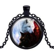 Ouro/cor preta pingente colar vintage branco lobo imagem de vidro cabochão declaração corrente colar estilo verão jóias