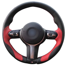 Hand sewing custom Black Leather Red Leather Car Steering Wheel Cover for BMW F87 M2 F80 M3 F82 M4 M5 F12 F13 M6 F85 X5 M F86 X6 for bmw m2 carbon gear base cover m2 f87 e92 m3 f80 m4 f82 f10 m5 m6 f85 x5m f86 x6m gear surround cover for right hand drive
