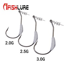 Afishlure Hook 2g/2.5g/3g Barbed Lead Fishing Crank Hook Fit for Rigs Fishing Tackle Hooks Texas Carolina Florida Rigs 5pcs/lot