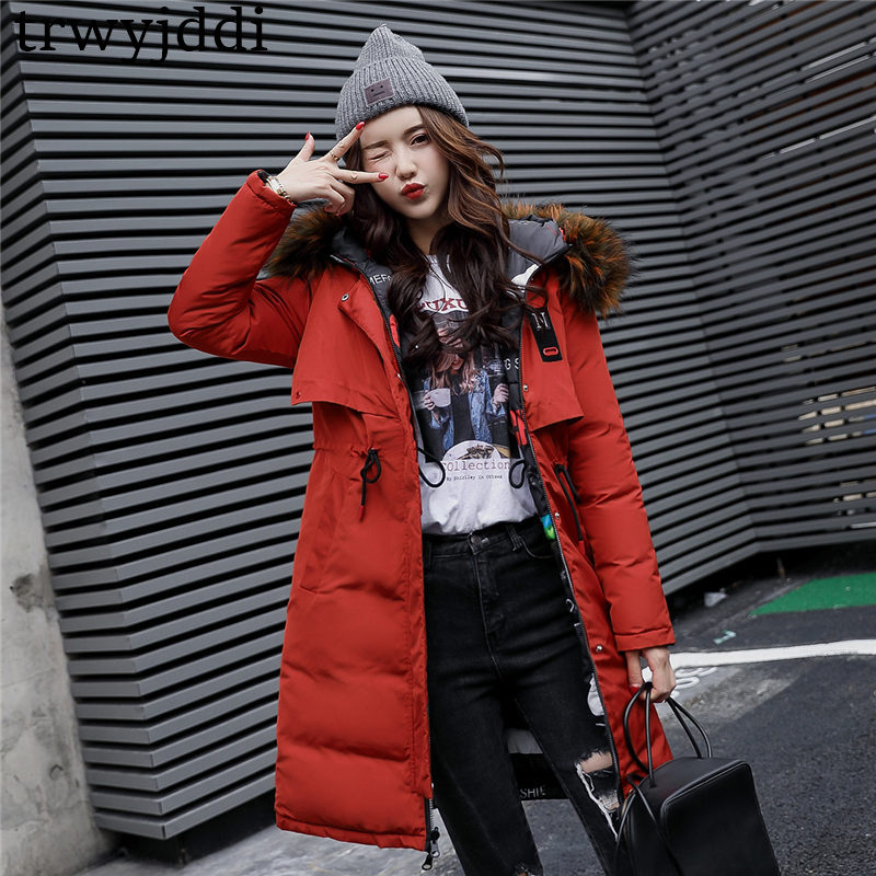 2018 New Arrival Winter Jacket Women Long Cotton Padded Outerwear Women Coat Parka With Colorful Fur Female Hooded Jackets A1148