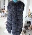 90 СМ длинные настоящее природный Фокс Меховой Жилет Куртка