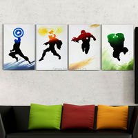 Hand Painted Superhero Oil Painting On Canvas The Avenger Captain America Iron Man Thor Hulk Movie