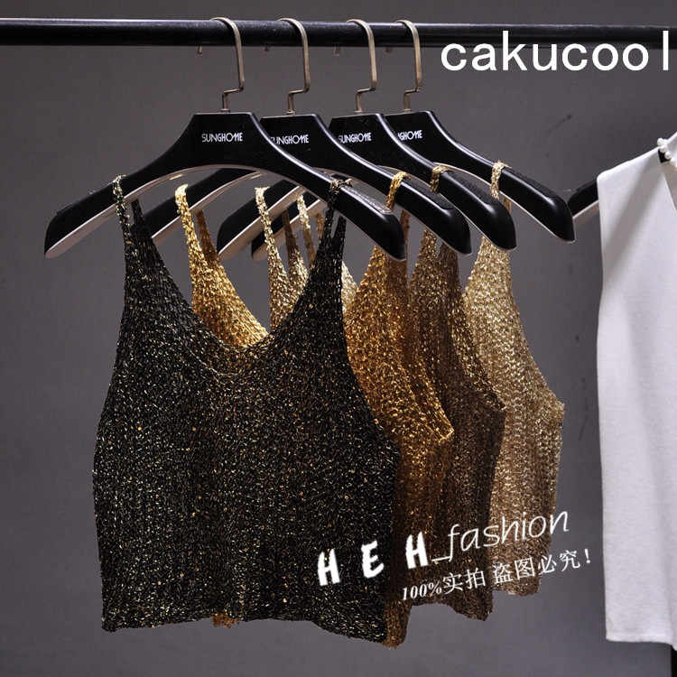 Cakucool Vrouwen Lovertjes Bling Crop Top Hollow Out Sexy Gebreide Mouwloze t-shirt Backless Club Gold Lurex Tank Tops Hemdje femme