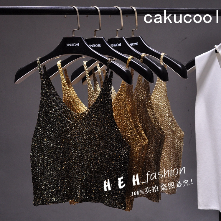 Cakucool Women Sequined Bling Crop Top Camisole Hollow Out Sexy Knit Tanks Spaghetti Backless Club Gold Lurex Camis Tops Femme