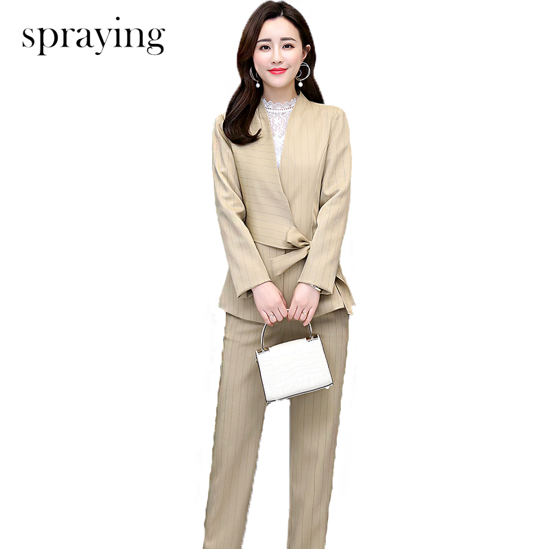 2019 Spring two piece set women Striped trends fashion sets long sleeve office lady Suit ensemble