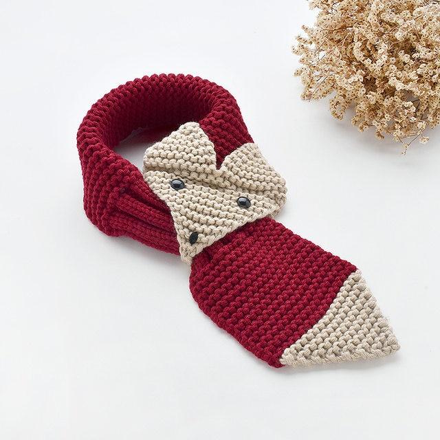 Online Shop Boy And Girl 3d Knitting Fox Scarf Winter Children