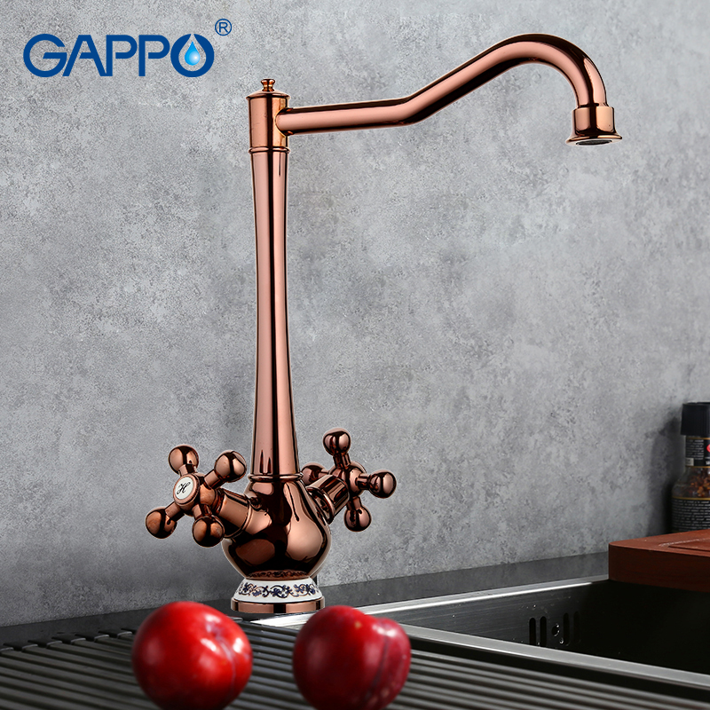 GAPPO 1 SETClassic Style Kitchen Faucet Cold and Hot Water Mixer Tap Double Handle Torneira Cozinha 360 Degree Rotation GA4065-3 frap new white black flexible kitchen sink faucet brass 360 degree rotation torneira cozinha water tap mixer kitchen goods f4042