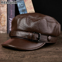 XdanqinX Elegant Genuine Leather Hat Autumn Winter Warm Cowhide Leather Military Hats For Men Women High Quality Brands Flat Cap