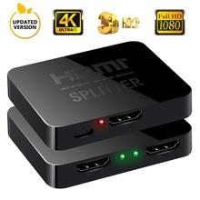 Newbep Лучшая цена HDMI Splitter 1 Вход 2 Выход HDMI Splitter Switcher box-концентратор Поддержка 4 К X 2 К 3D 2160p1080p для XBOX360 PS3/4/5