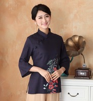 Top Selling Navy Blue Ladies Shirt Tops Classic Chinese Style Cotton Linen Blouse Size S M