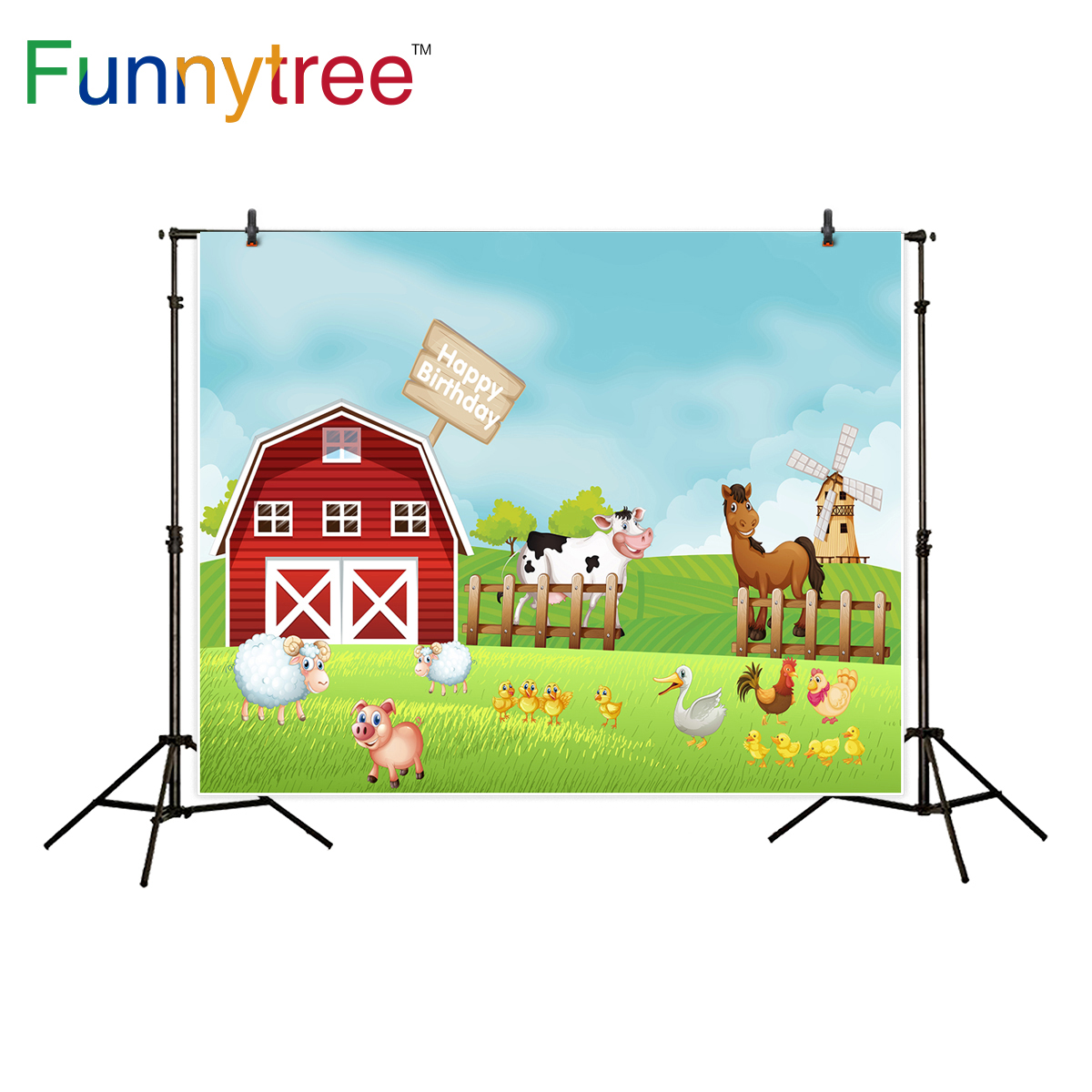 Funnytree background for photography red barn farm animal windmill birthday party cartoon backdrop photo studio photocall new сандалии ideal shoes ideal shoes id005awggt60