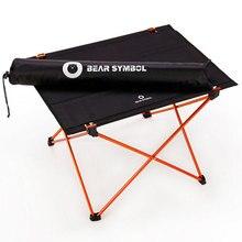 Portátil dobrável mesa dobrável acampamento viajando ao ar livre 7075 liga de alumínio mesa luz laranja azul mobiliário ao ar livre
