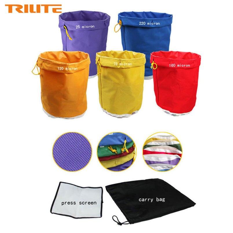 5 gallons 5 sac Kit presse gratuite écran bulle glace sacs 5 gallons hachage herbe huile Extraction Oxford filtre sacs jardin cultiver sac 5 couleurs