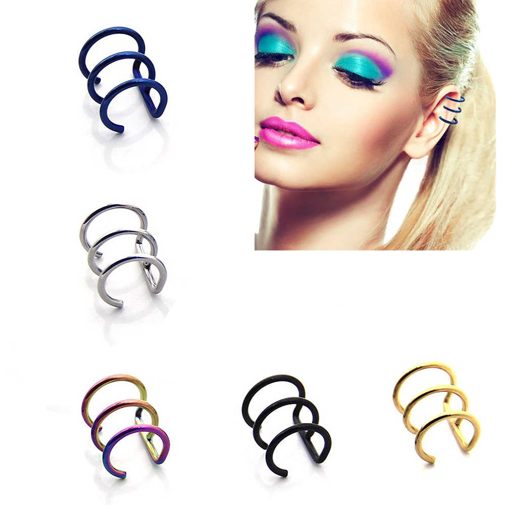 1 Pair ( 2PCS )Fake Cartilage Clip-On Ring ,Helix Earrings, Non Pierced Clip On Closure Ring