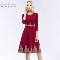 Babyonline New Arrival Burgundy Short Lace Evening Dress Homecoming Dresses with Sleeve Robe de Soiree Courte
