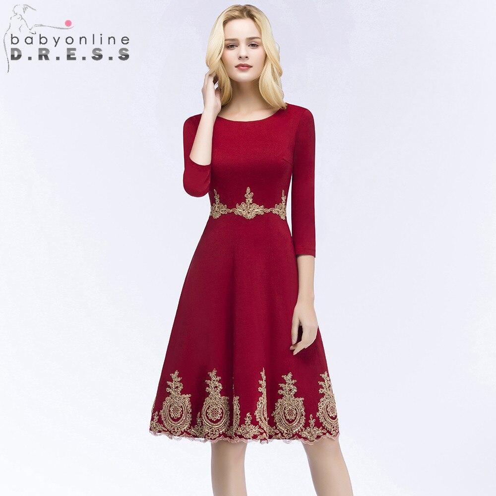 Babyonline Новое поступление бордовое короткое Кружевное Вечернее платье Бальные платья с рукавом Robe de Soiree Courte