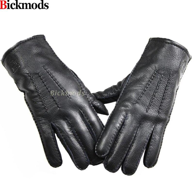 2017 Guantes Winter Handschuhe Leder Handschuhe Männer Alle Handgemachte Hirschleder Futter Streifen Stil Weichen Empfindlich Preis Zugeständnisse Direkt
