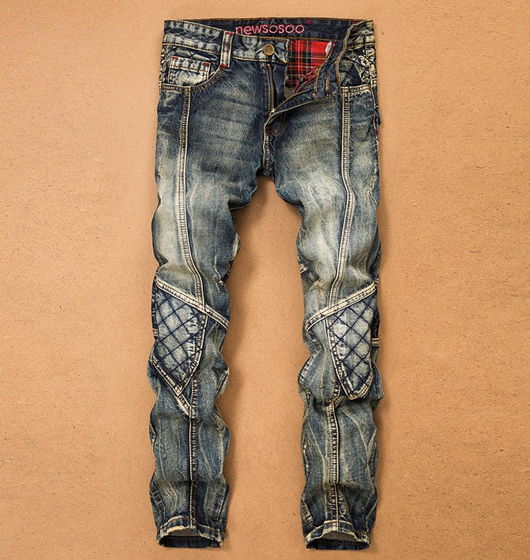 Mens Denim Jeans 2017 New Fashion Slim Fit Mens Stretch Pants Vintage Motor Biker Cotton America Style Pencil Trousers Plus size 2017 new fashion slim mens pencil pants