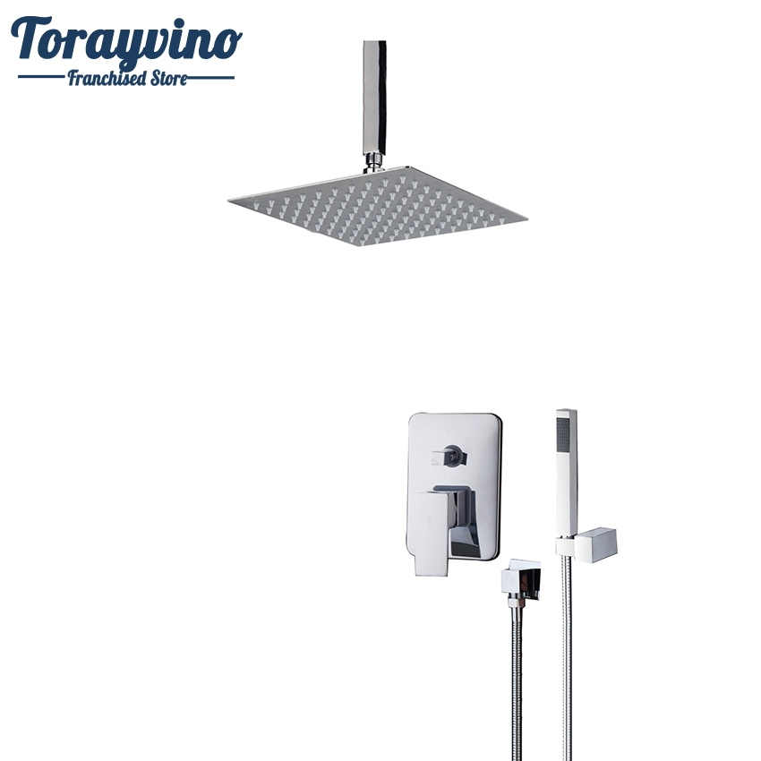 Torayvino 5 kind of Top Ceiling Shower Set Mount Ultra-thin Rainfall Shower Head&Control Valve Wall Mounted Hot&Cold Water Mixer