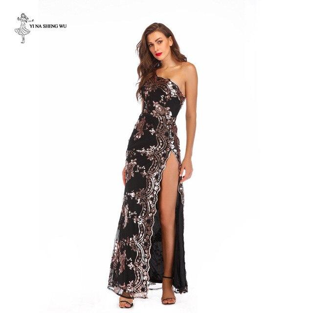 Robe longue sexy à paillettes pour adultes, à bretelles dénudées, robe longue fendue, bretelles dénudées, longue danse, salle de bal, queue de poisson