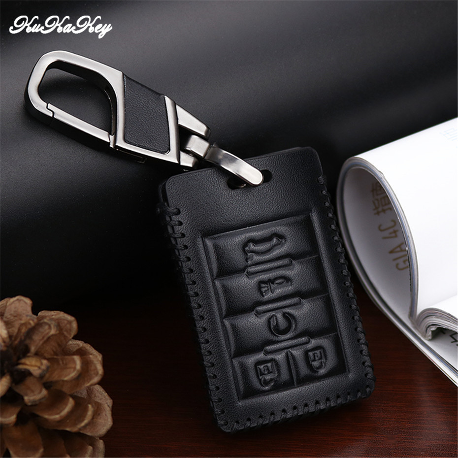 KUKAKEY Leather Car Key Case Cover Shell Fob Bag For Cadillac CTS Escalade SRX ATS STS Best Festival Gift For Friends