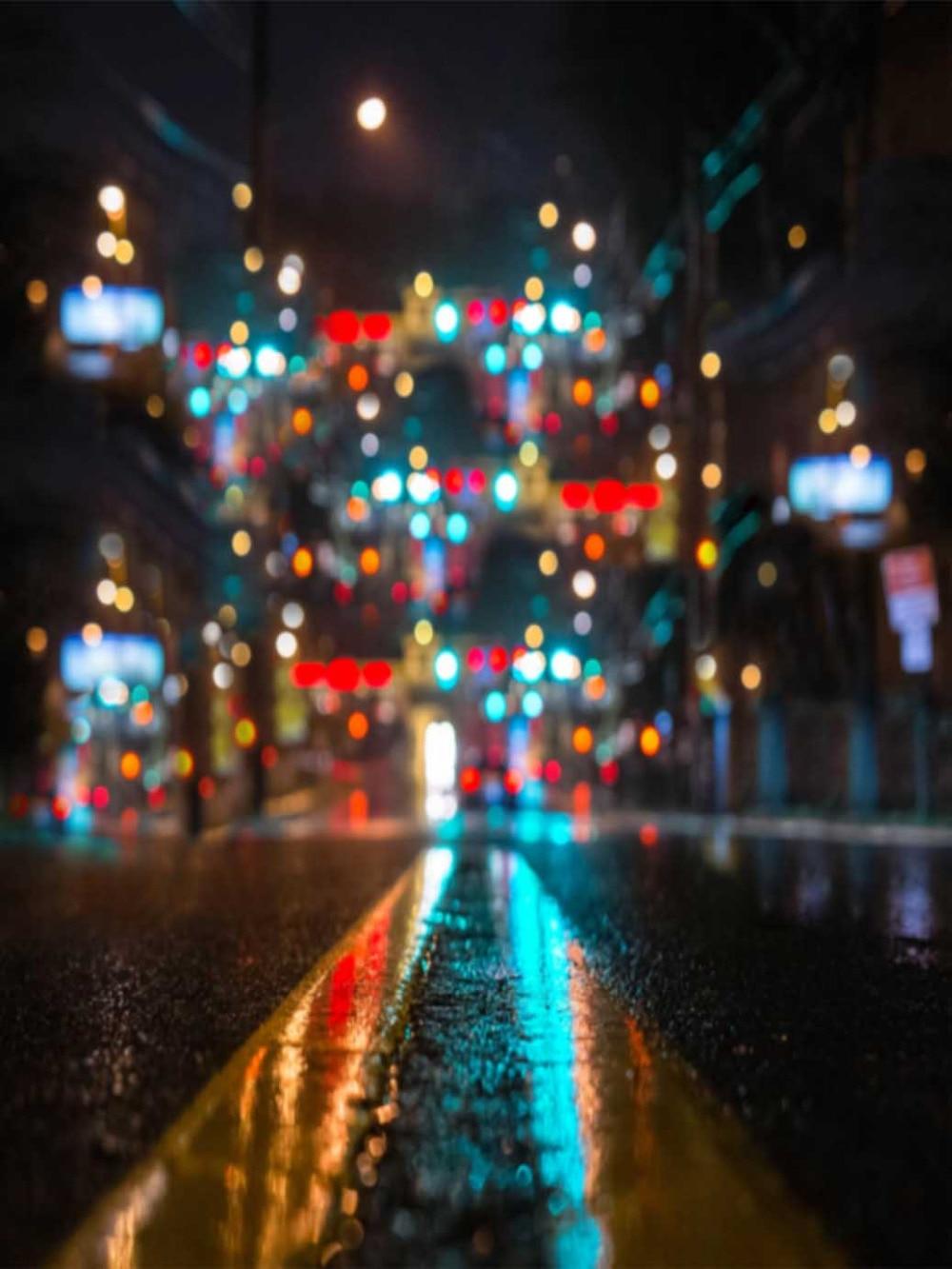 8x12ft Street Night Neon Lights Spots Road Custom Photo