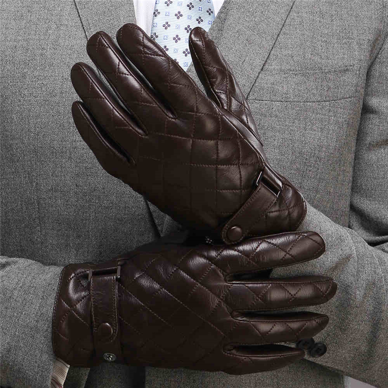 2020 New Men's Genuine Leather Gloves Male Autumn Winter Plush Lined Fashion Wrist Button Lambskin Leather Gloves M020NC-1