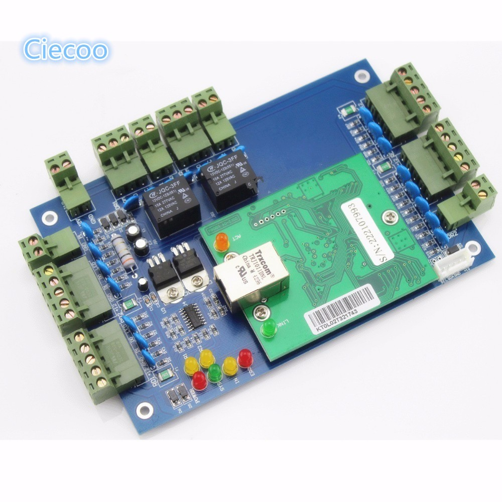 Two doors TCP/IP Network Access Control Board 20K users and 100K event buffers with double directions control attendance records