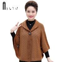 ASLTW Sweater Poncho 2017 New Fashion Plus Size Batwing Sleeve Ladies Sweater Turn Down Collar Sweater