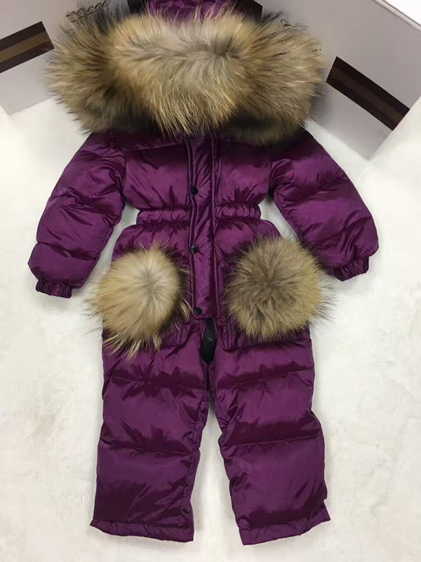 2019 Winter Baby Girl Down Coat Baby Clothes Print Outerwear Fur Hooded Children's Snowsuit Down Coats Child Jumpsuit Romper