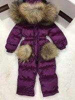 2018 зимнее пуховое пальто для маленьких девочек одежда для малышей Верхняя одежда с принтом детский зимний комбинезон с меховым капюшоном Д