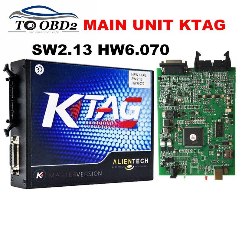 Цена за Высокое Качество Основной Блок KTAG V2.13 HW6.070 Многоязычная Работает Для Мульт-Автомобили/Грузовики K ТЕГ 2.13 Без Лексем Ограничено К-TAG ЛУЧШИЕ