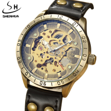 New Fashion SHENHUA Retro Bronze Mens Mechanical Watch Skeleton Steampunk Leather Automatic Mechanical Wristwatch Men Clock Gift