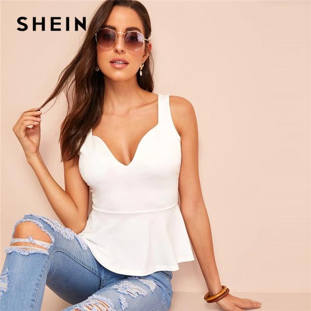 SHEIN Sexy White Zip Back Sweetheart Neck Peplum Tank Top Women Summer Slim Fitted Solid 2019 Elegant High Street Vests