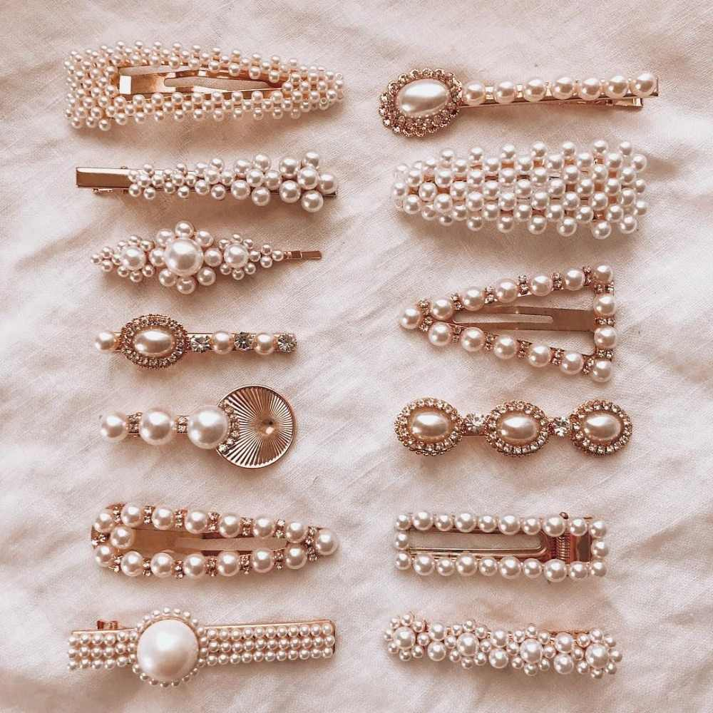 Best lady Trendy Simulated Pearls Hair Clips Letter Face Hair Jewelry Cute Wedding Elegant Hair Pins for Women Hair Bobby Pins