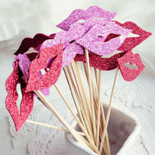 20pcs Glitter Lip DIY Photo Booth Props Adult Bachelorette Party Hen Bridal Shower Wedding Decoration