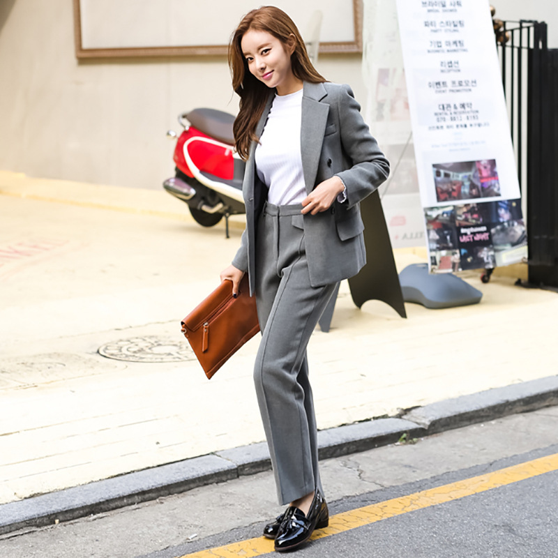 Fashion autumn new Korean version of the sacrifice double-breasted small suit + wide leg pants two sets of sets of women