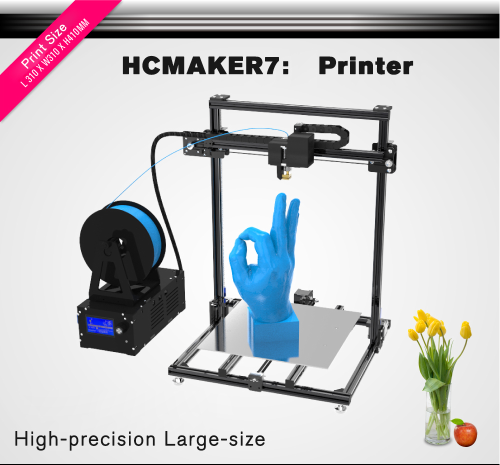 3D Printer Plus Size HCMaker Pulley Version Linear Low Noise High Precision 3D Printer DIY High Quality Printer 3d
