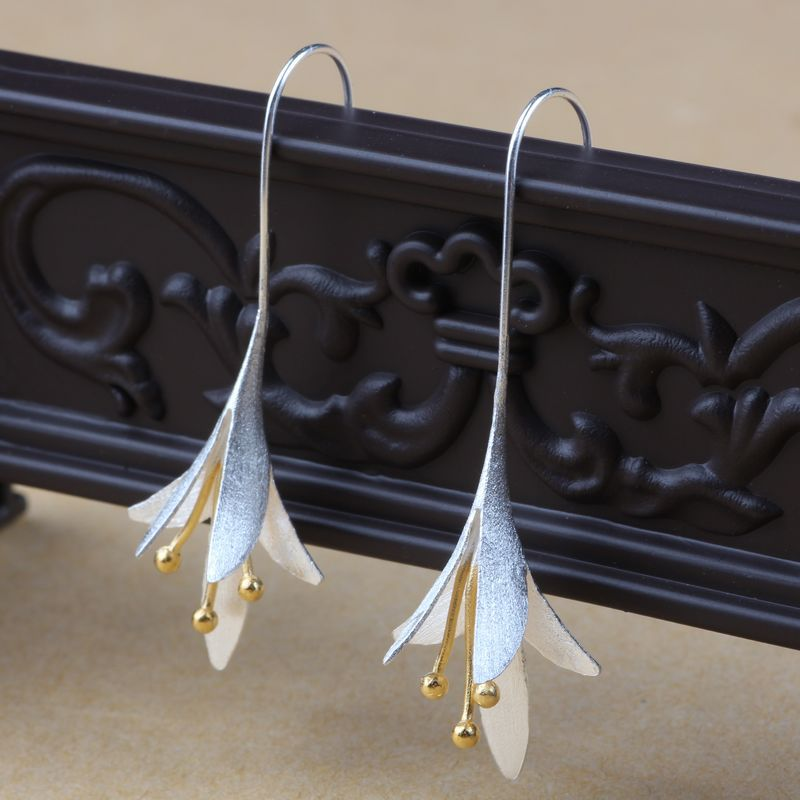 925 Sterling Silver Long Flower Earrings For Women New Design Lovely S Gift Statement Jewelry Penntes Plata In Stud From