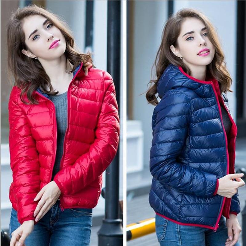 S-XXXL Nieuw 2018 Winter twee kanten vrouwen 90% witte eendendons jas Dameshoodie Ultra licht donsjacks Warme winterjas Parka