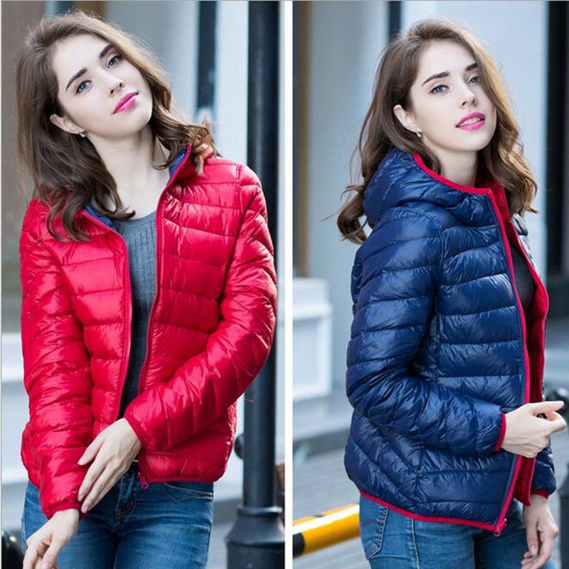 S-XXXL New 2019 Winter Two Side Women 90% White Duck   Down   Jacket Women's Hooded Ultra Light   Down   Jackets Warm Winter   Coat   Parkas