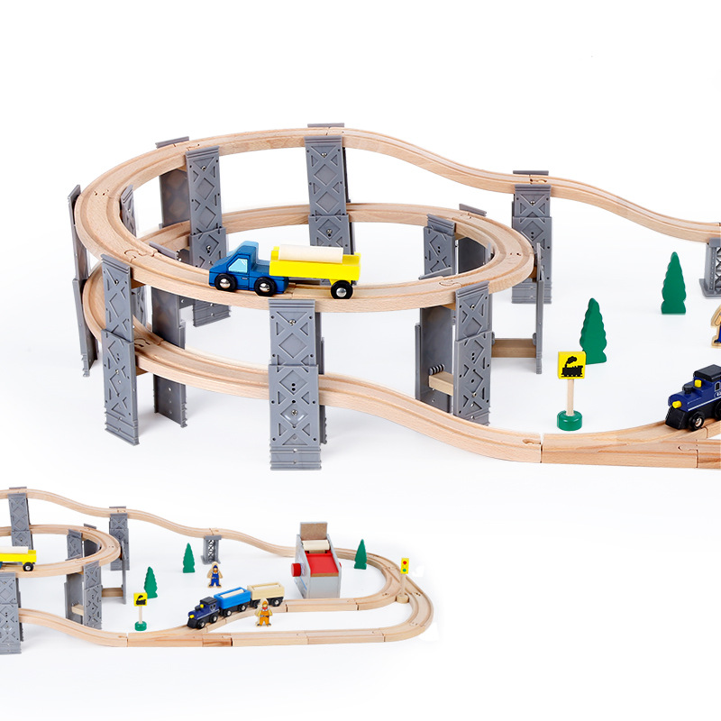 wooden train track railway educational roll coaster wood toy for children