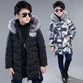 Детская одежда подросток мальчики ватные куртки удлинить письмо утолщение камуфляж верхняя одежда ребенка хлопка-ватник