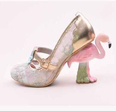 new fashion Painted flamingo embroidery hollow Mesh sequins lace flower Flamingo heel woman shoes Flamingo high heel shoes
