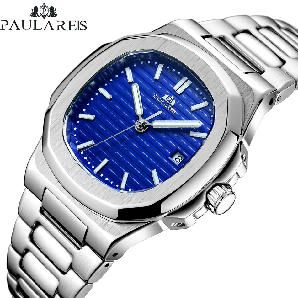 Men Automatic Self Wind Mechanical Luminous Stainless Steel Blue Grey Coffe Black White Dial Simple Business Watch
