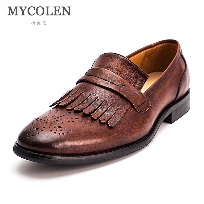 MYCOLEN Men Loafers Moccasins Leather Slip-On Loafers Men Brown Classic Casual Shoes Luxury Fashion Loafers Sepatu Pria mycolen 2018 new summer breathable men casual shoes slip on male fashion footwear height increasing sneakers sepatu casual pria