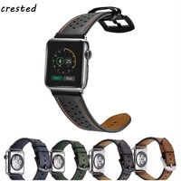 CRESTED Genuine Leather Strap For Apple Watch Band 42 Mm 38 Crazy Horse Pattern Bracelet Leather